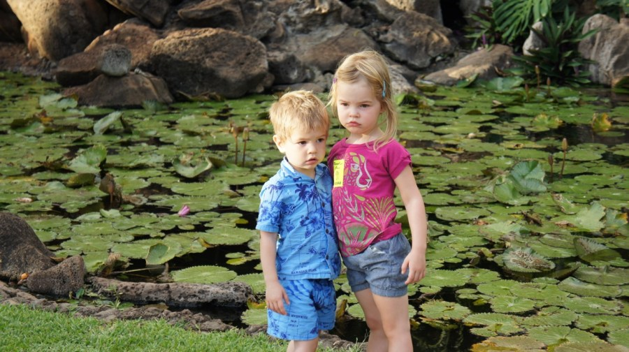 HJ and K at the lily pond