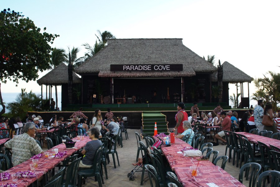 The Paradise Cove Stage and Eating Area