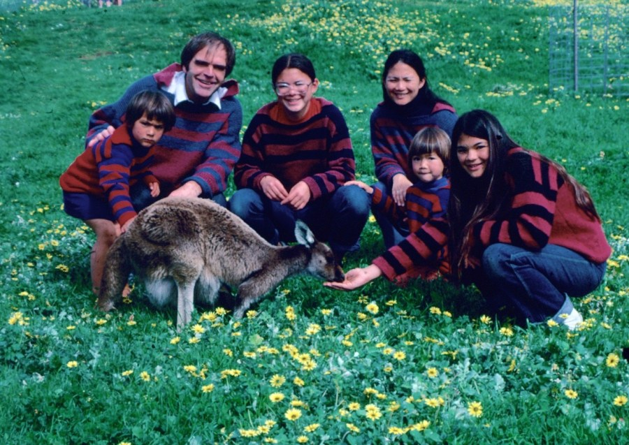 Australian family with kangaroo