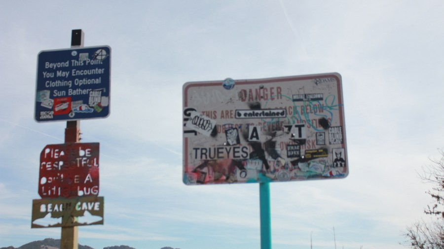 Signs covered in stickers