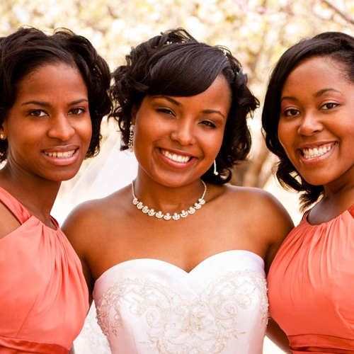 african-american bride and her bridesmaids