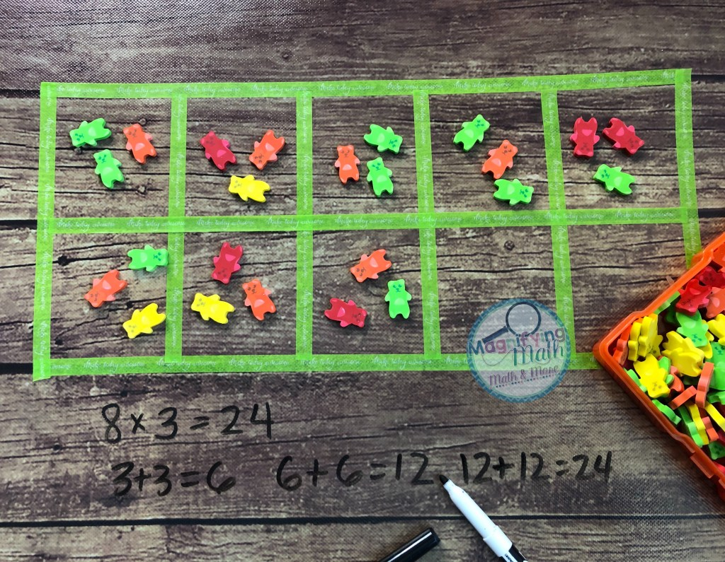 An example of the use of erasers with a ten-frame