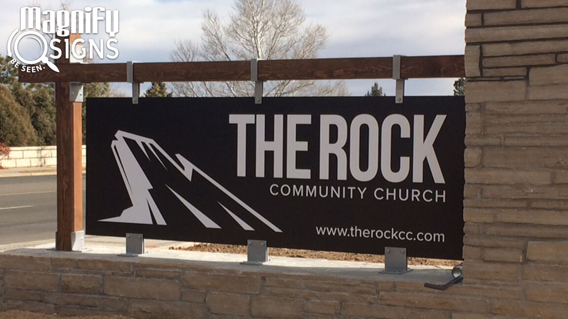 Custom Masonry Stone With Aluminum Panel Monument Sign For