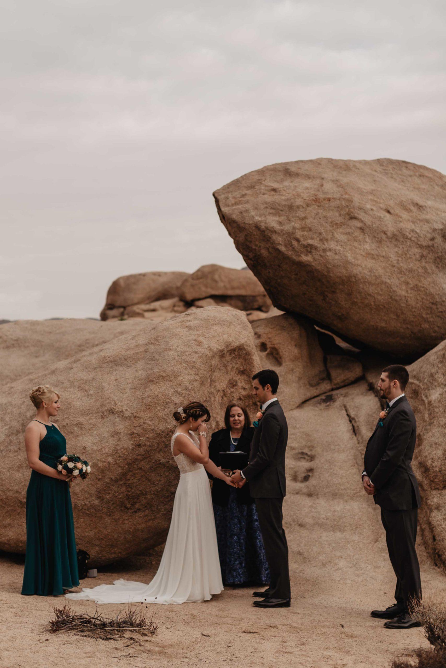Desert elopement in Joshua Tree National Park captured by adventure wedding photographer Magnolia + Ember.