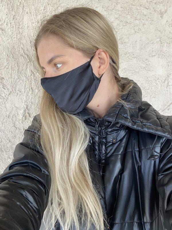 black silk face mask
