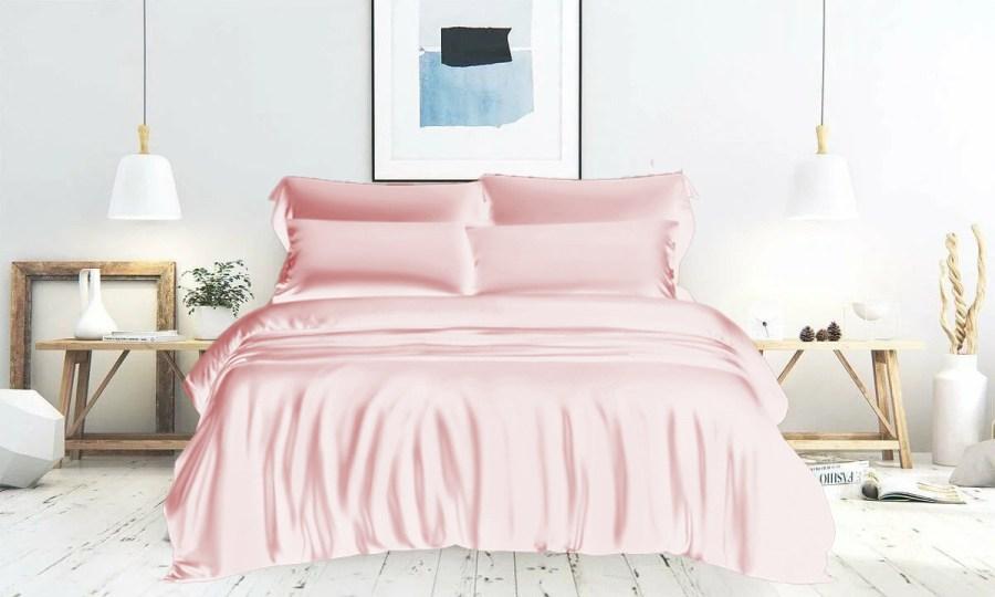 pink silk bedding