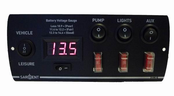 Caravan Consumer Unit Wiring Diagram Sargent Ec30 12v Control Panel With Battery Voltage Gauge