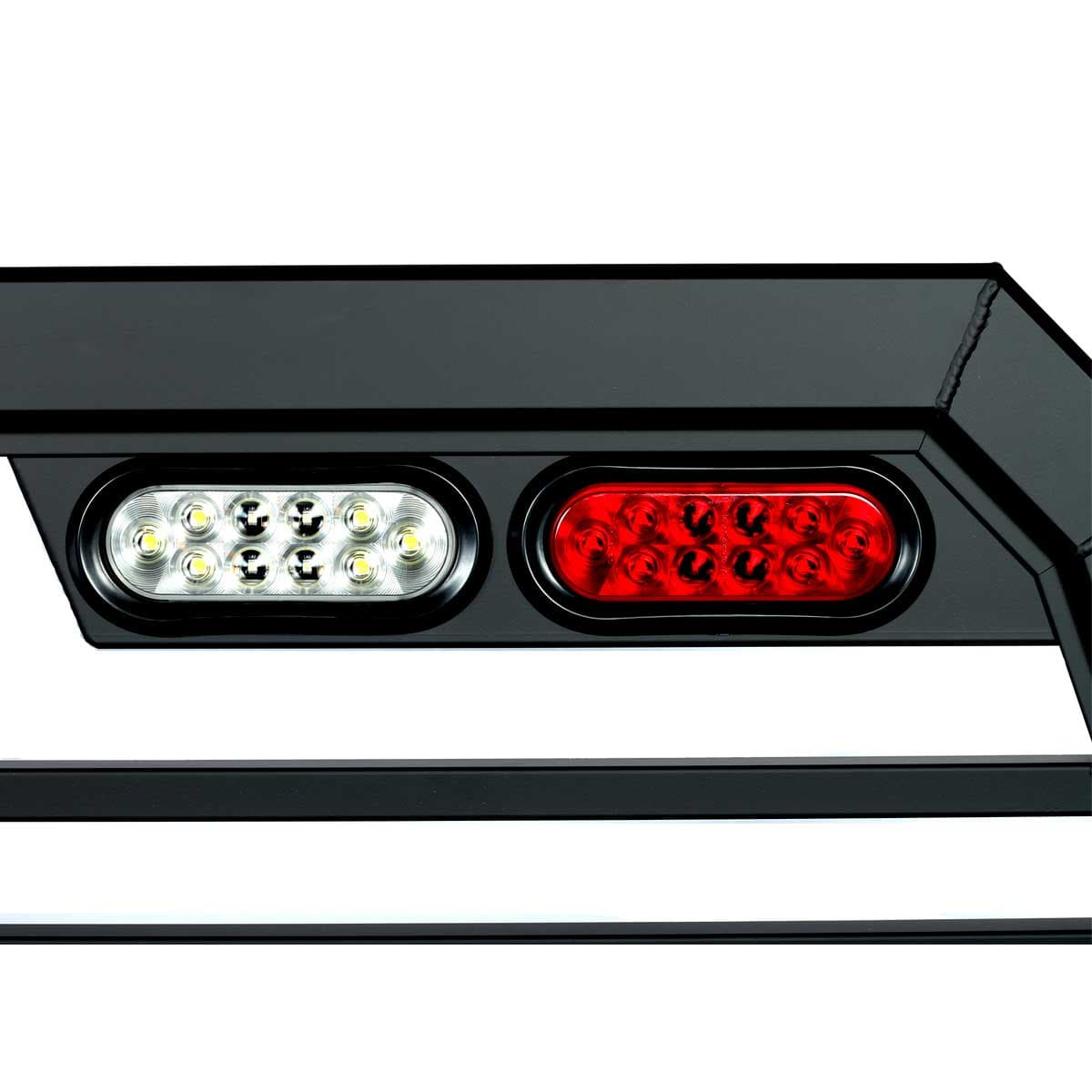 hight resolution of oval shaped backup light and brake light on a truck rack