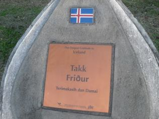 A thank you stone to the Icelanders