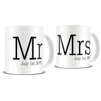 Personalized Mr and Mrs Typography Coffee Mug Set