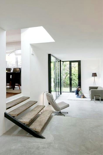 concrete white living room