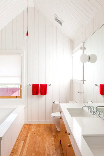 red bath linen