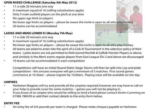 Harleston Magpies Hockey May Day Festival 5th, 7th May 2012
