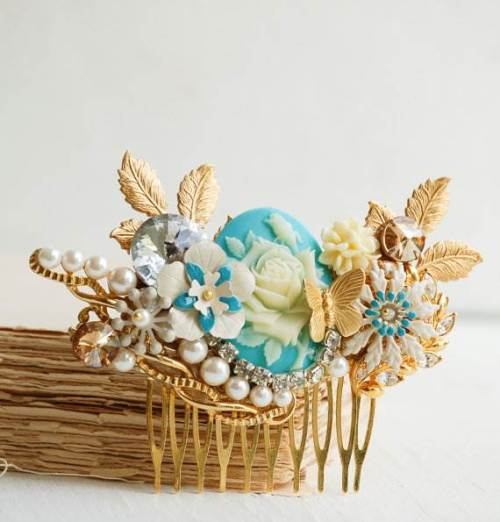 Bridal hair comb in gold & Blue - vintage style hair accessory via redtruckdesigns