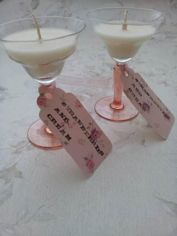 Etsy handmade sherry wine glass wedding candle via National Vintage Wedding Fair blog