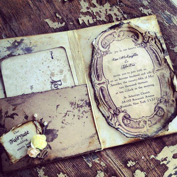 vintage sepia wedding invitations on National Vintage Wedding Fair