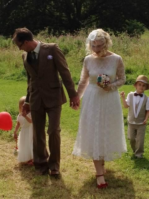 Kate and Adam Beavis 1950s vintage wedding