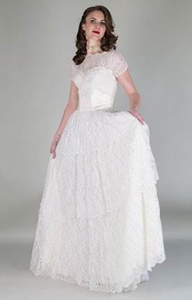 Vintage wedding dress by Authentic Vintage Bridal at the National Vintage Wedding Fair