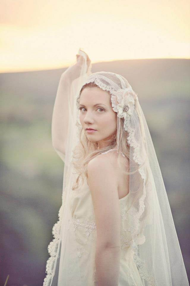 Vintage veil from Silver sixpence in her shoe at the National Vintage Wedding Fair