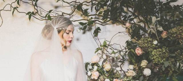 Debbie Carlisle vintage wedding head piece as featured on the National Vintage Wedding Fair blog