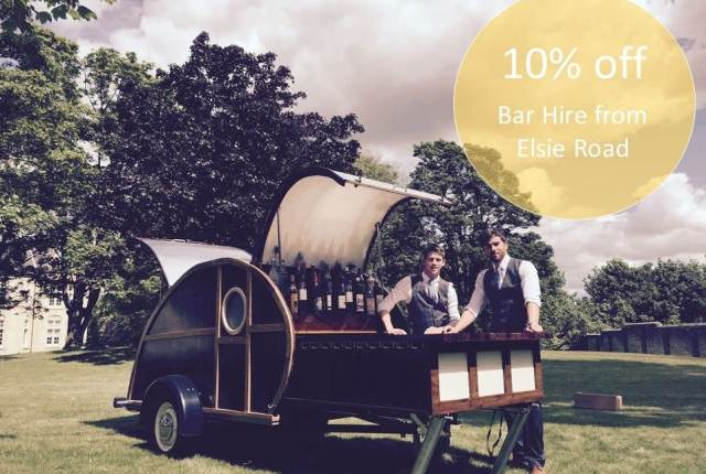 Elsie Road mobile vintage style bar as featured in Unique Bride Journal