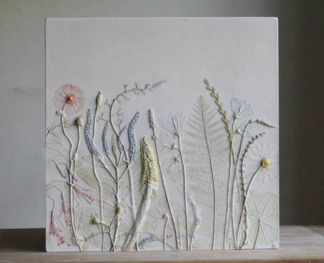 Flowers pressed into tiles as featured on National Vintage Wedding Fair blog