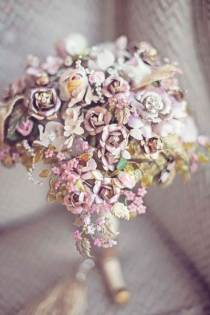 Artificial wedding bouquet by Katy Melling as featured on The National Vintage Wedding Fair blog