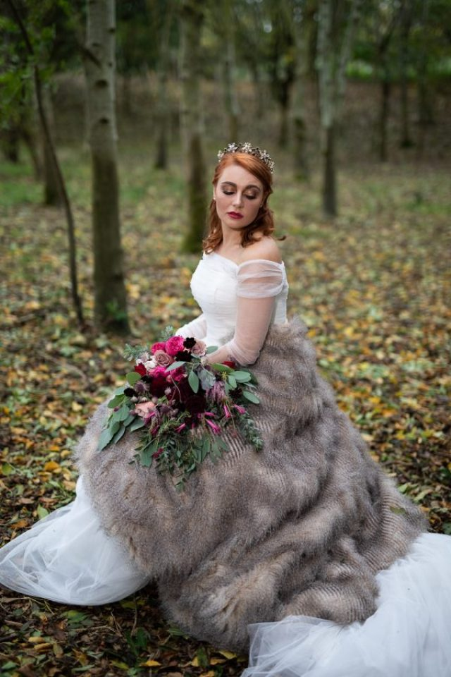 Winter Woodland Wedding Inspiration with Burgundy and Gold Touches
