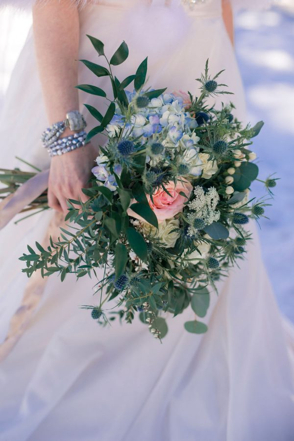 Outdoor Winter Wedding Inspiration with Turquoise and Gold Touches