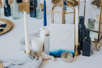 Boho Beach Wedding with Ombre Dress and Blue Wedding Cake