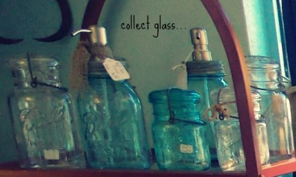 glass jars and soap dispensers