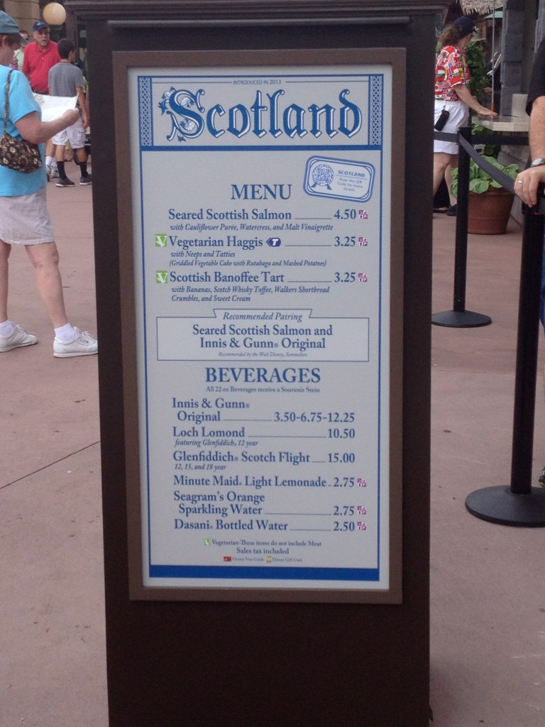Scotland menu at Epcot's Food and Wine Festival