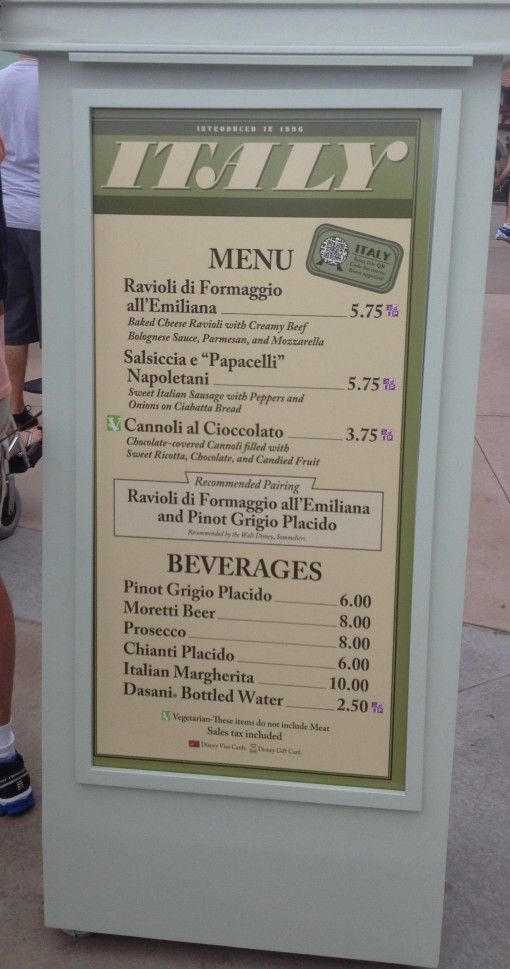 Italy Menu at Epcot