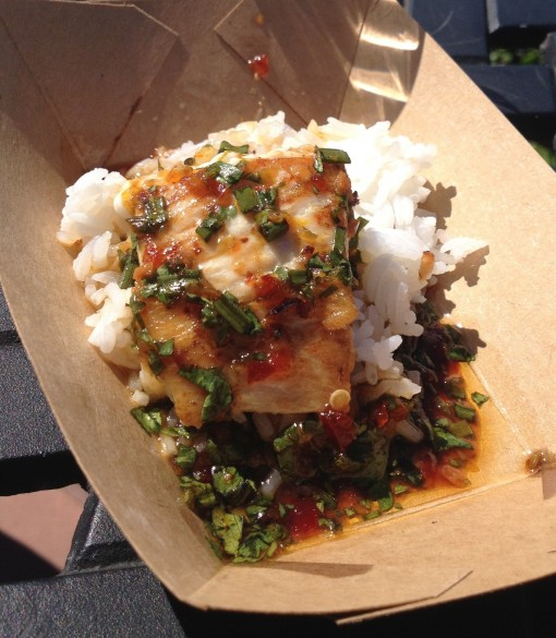 "Singapore's Seared Mahi Mahi with Jasmine Rice and ""Singa"" Sauce at the Epcot International Food and Wine Festival"