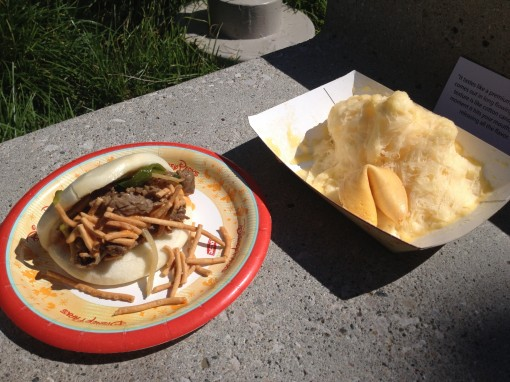 China's Mongolian Beef in a Steamed Bun and Silk Ice Cream Ribbon in Mango at The Epcot International Food and Wine Festival