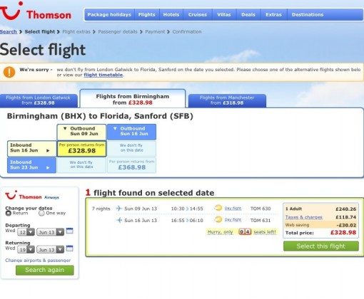 Cheap flights between the US and UK on Thomson