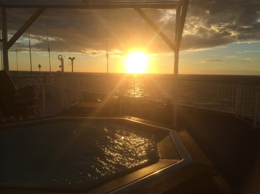 View from DSDF Seaways Pearl Owner Suite with outdoor jacuzzi from Copenhagen to Oslo