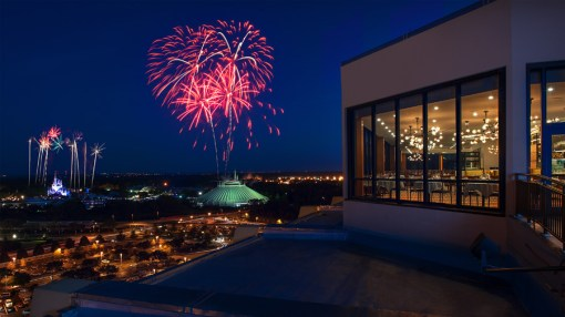View of Magic Kingdom fireworks from the California Grill on top of the Contemporary Resort at Walt Disney World