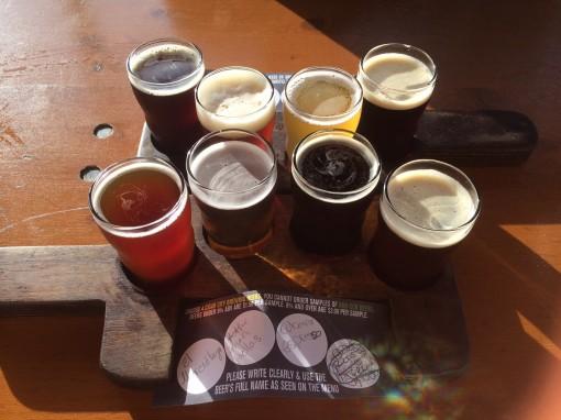Beer flight at Cigar City Brewing in Tampa, FL