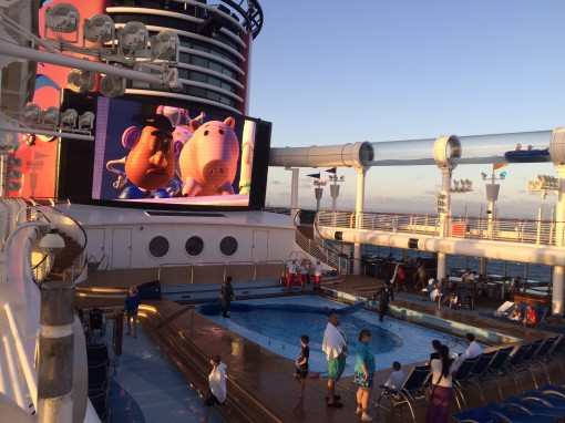 Top deck Funnel Vision movies on the Disney Fantasy- Disney Cruise Line
