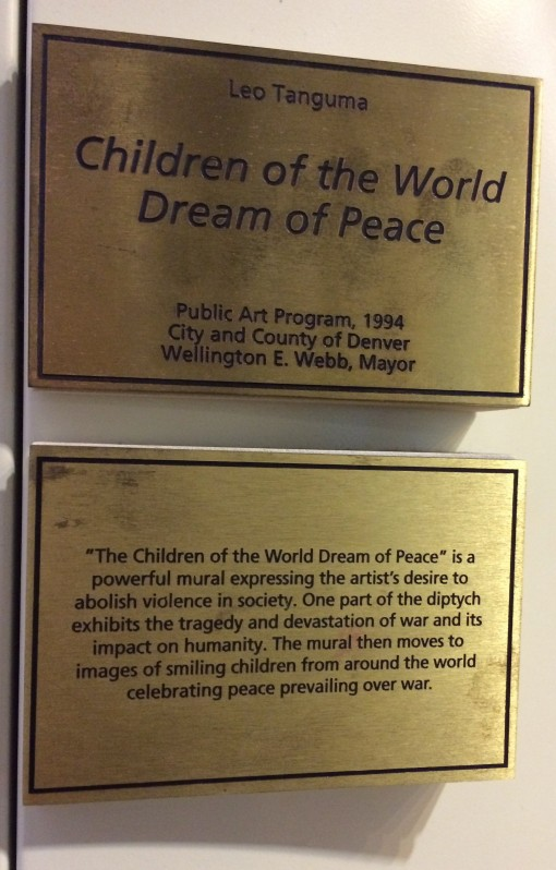 Plaque describing the Denver Airport Murals