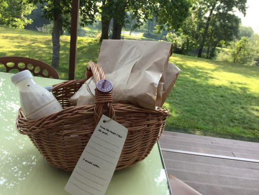 Breakfast delivered to your door every morning at Big Berry Camp in Primostek, Slovenia