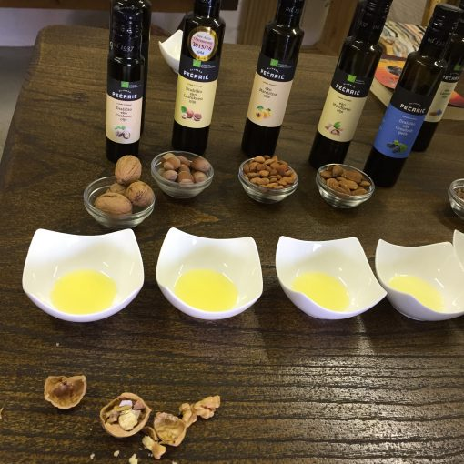 Sampling oils at Big Berry Camp in Primostek, Slovenia