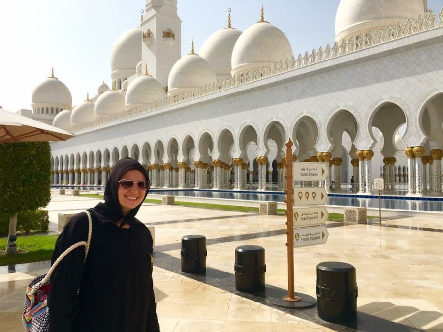 "Try out the traditional dress or ""Abaya"" at The beautiful Sheikh Zayed Mosque in Abu Dhabi, UAE"