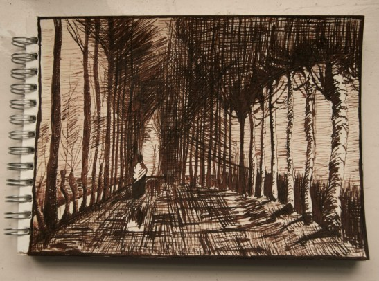 my version of van Gogh's 'Figure on a road', pen and sepia ink on watercolour paper