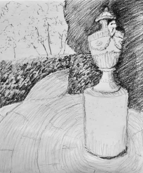 urn and hedges, carbon pencil