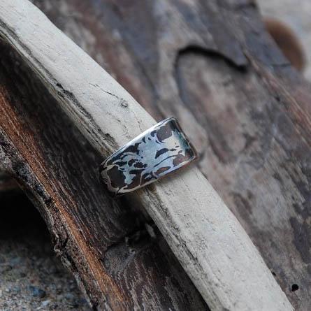 mokume gane Ring Silber und Kupfer