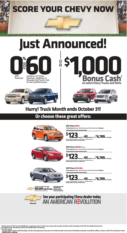 October Chevrolet deals