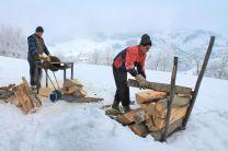 wood, wood-burning stove, winter, Magura Transylvania, Romania, neighbours, circular saw