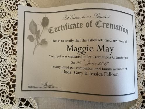 Maggie's certificate of creamtion.